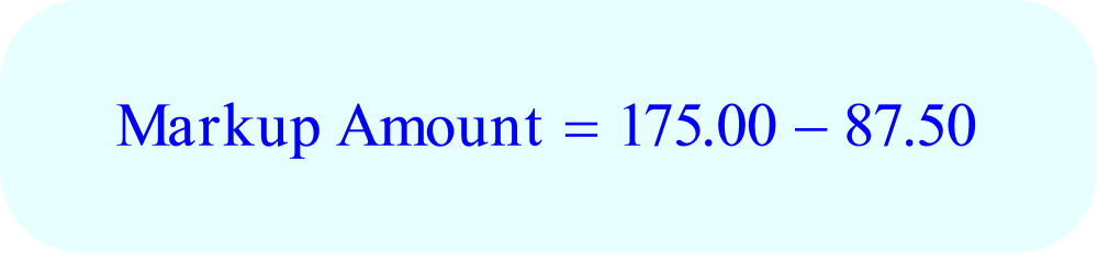 Math – Markup Amount, calculate - a