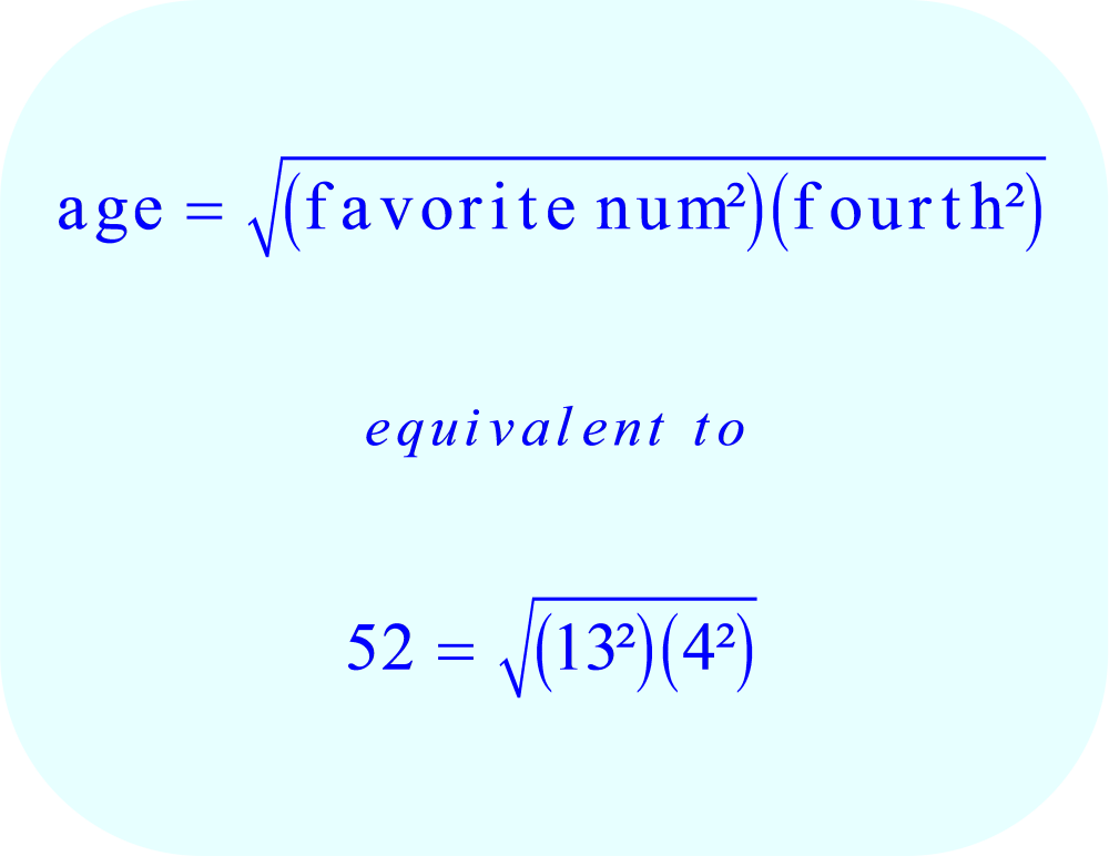 Math - Equation for age