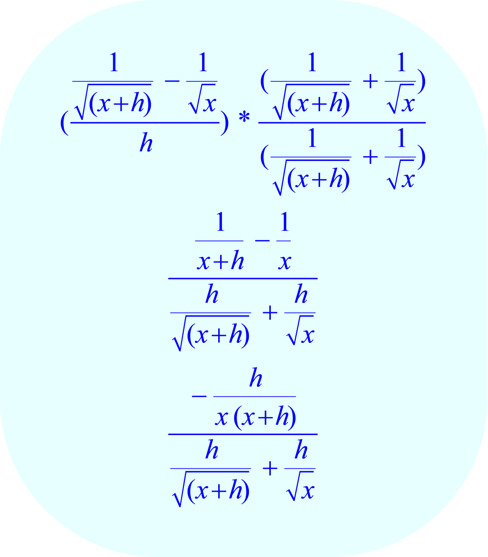 Rationalize the numerator by multiplying by its conjugate:  Part I.