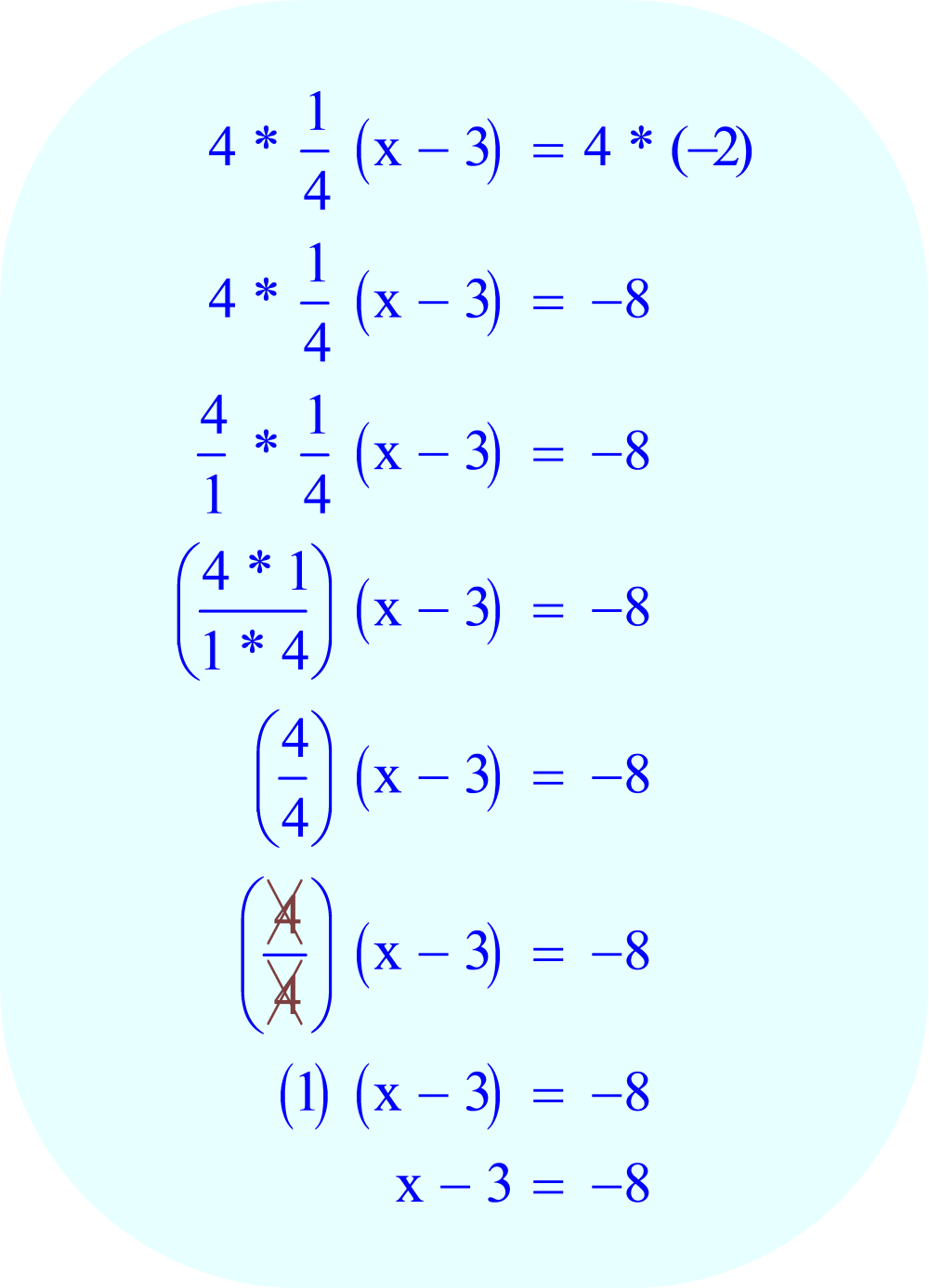 Multiply each side of the equation by 4