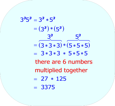 Multiplying Two Exponential Expressions, when  1.  The two exponents are the same integer  2.  The two base numbers are two different integers