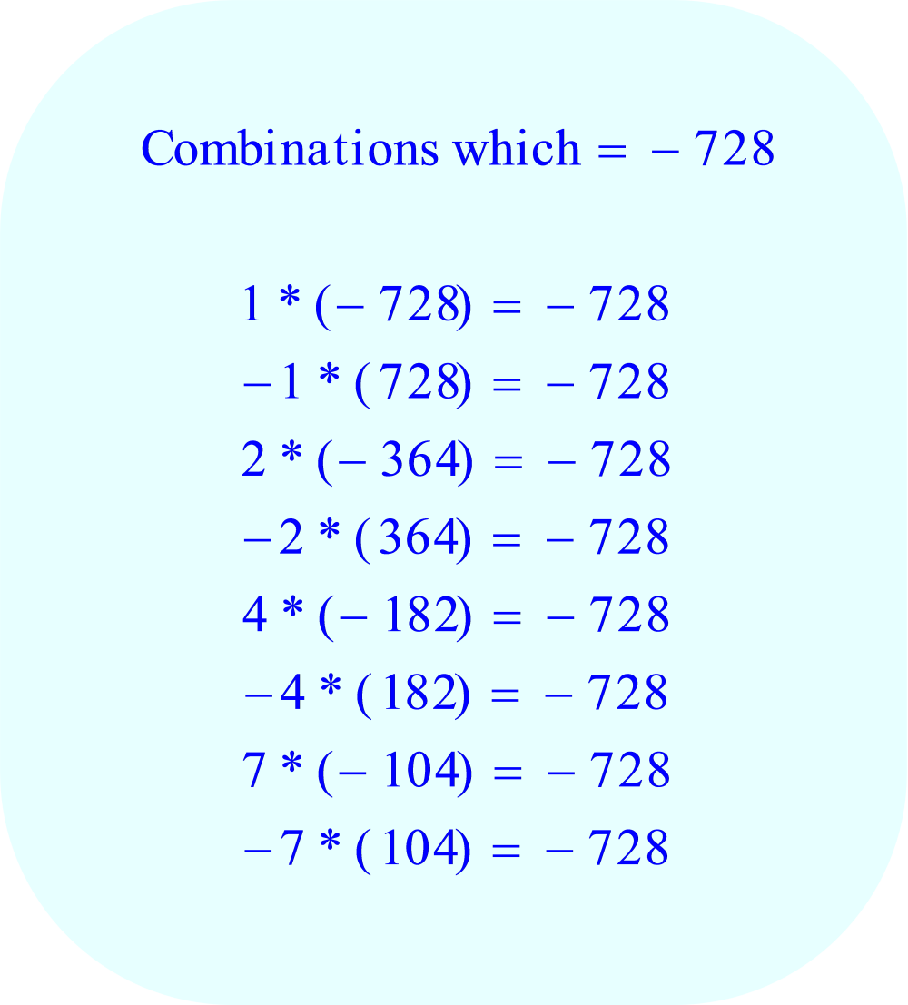 Factors of the number -728, the constant C in the quadratic equation, part 1