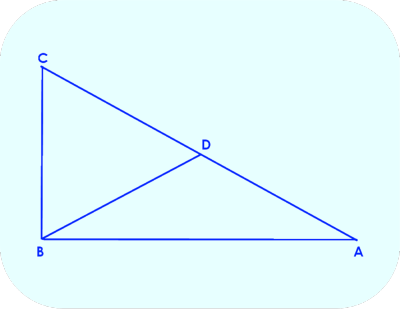 Right Triangle ABC, showing median to the hypotenuse BD