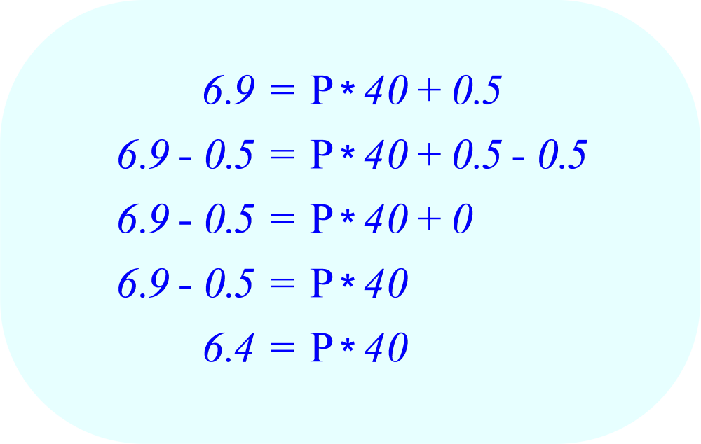 Subtract 0.5 from each side of the equation