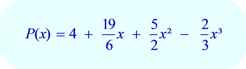 3rd degree polynomial function passing through the four points:  (0, 4); (1, 9); (2, 15) and (3, 18)