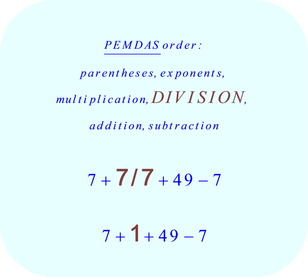 7 + 7 divided by 7 + 7 × 7 - 7 using PEMDAS - division