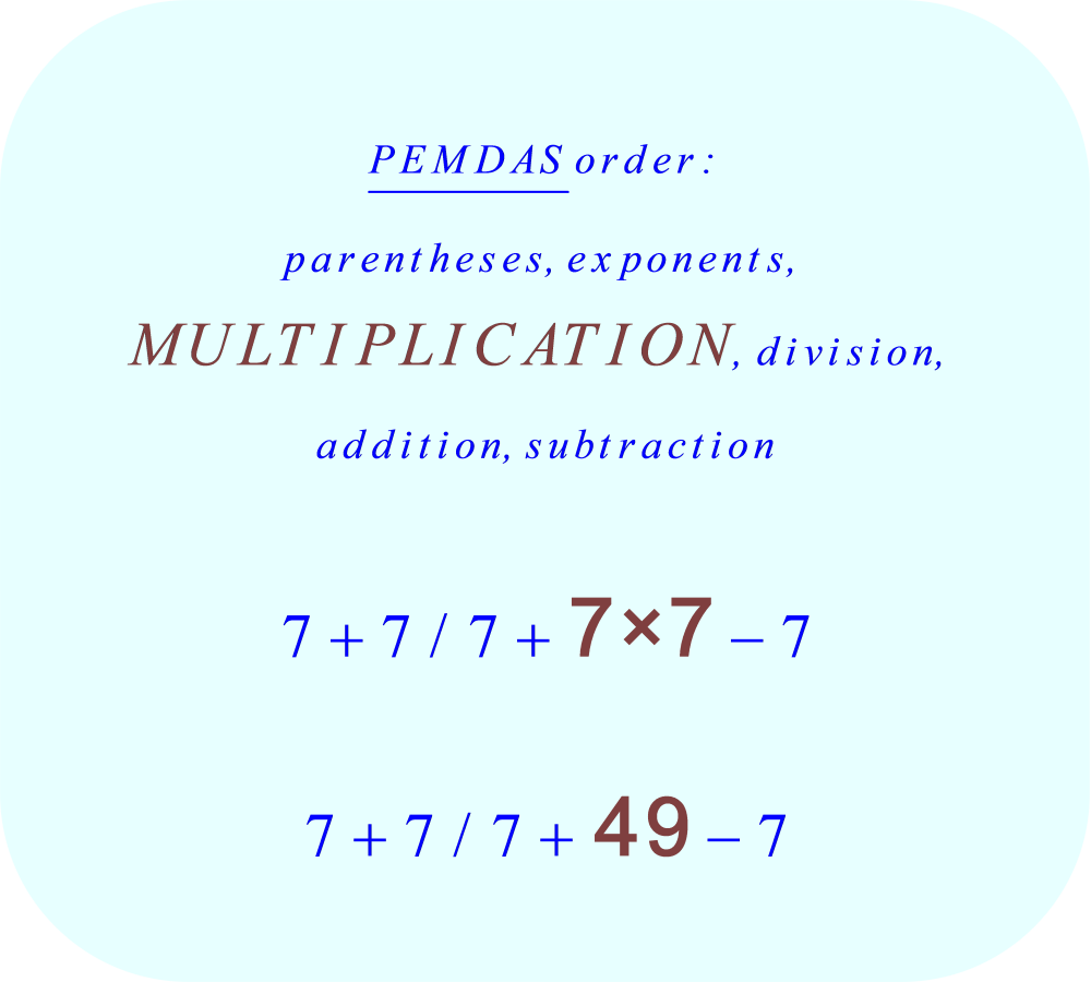 7 + 7 divided by 7 + 7 × 7 - 7 using PEMDAS - multiplication