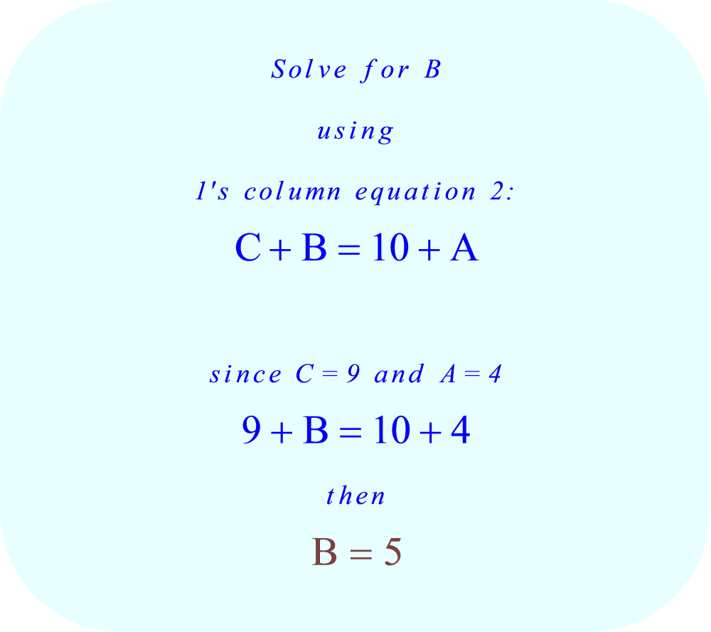 ABC + ACB = CBA, solve for B = 5