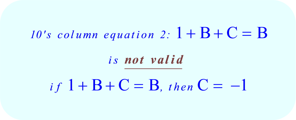 ABC + ACB = CBA, the ten's column equation 2 is invalid