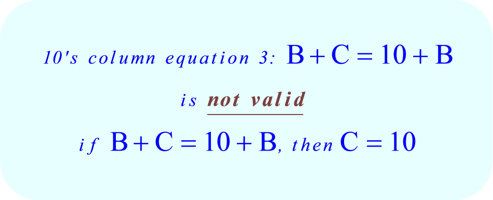 ABC + ACB = CBA, the ten's column equation 3 is invalid