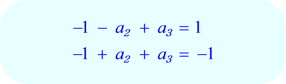 a₁ equals -1 in all three equations.