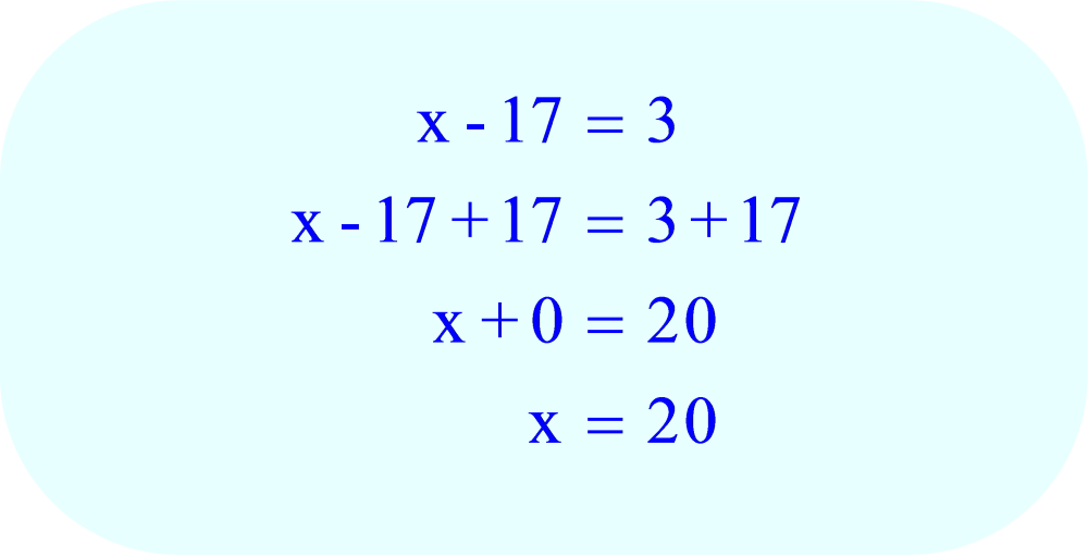 Add 17 to each side of the equation