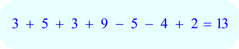 Adding and Subtraction Math Puzzle:  Place + or - signs between the digits so that both sides of each equation are equal.