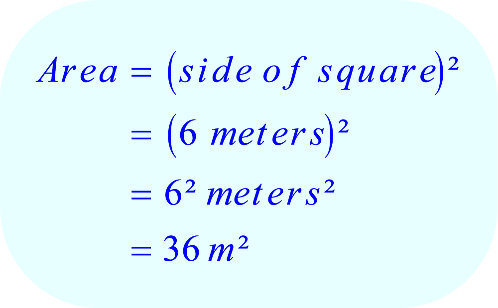 Formula for area of a square