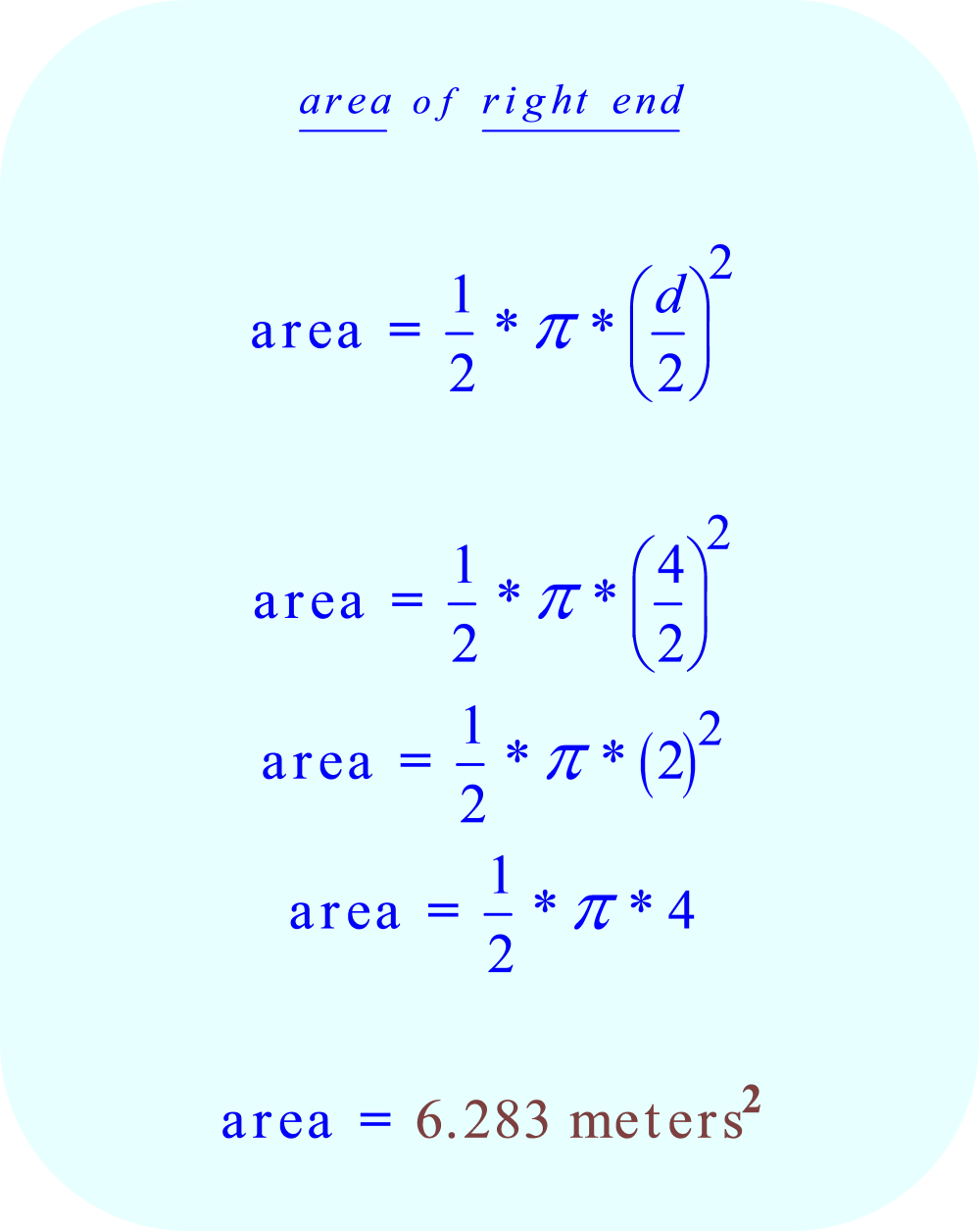 area of right semi-circular table end