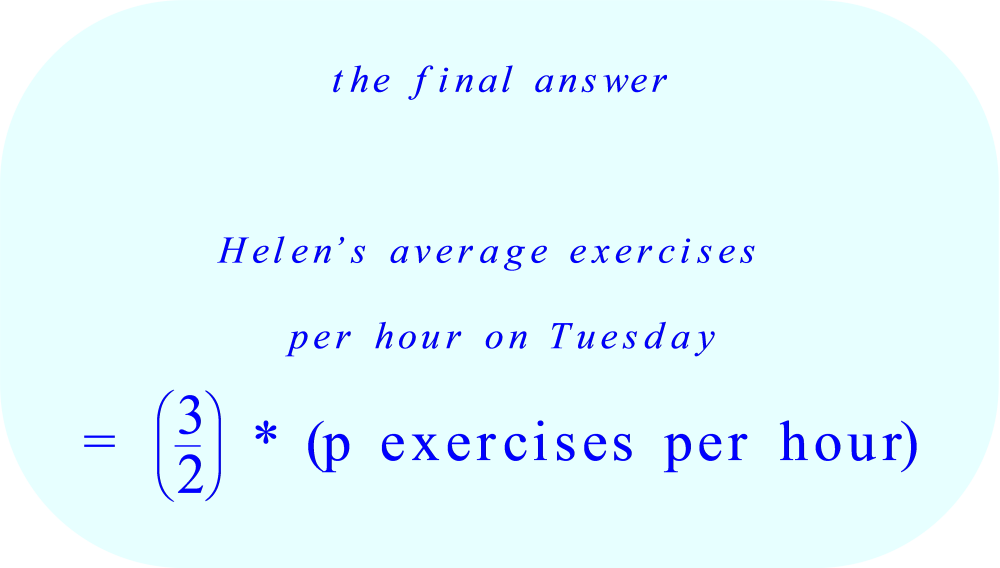 Helen's average exercise completion rate on Tuesday in terms of p 