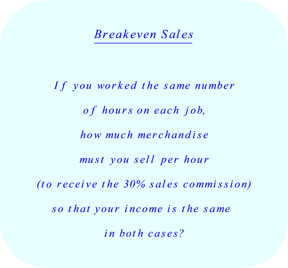 Breakeven commission sales - explanation.