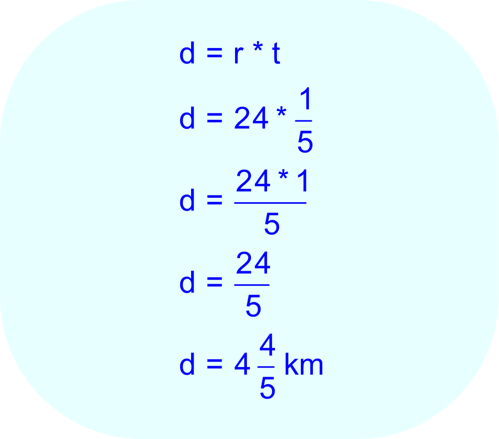 Substitute the values for speed and time, and then complete the multiplication