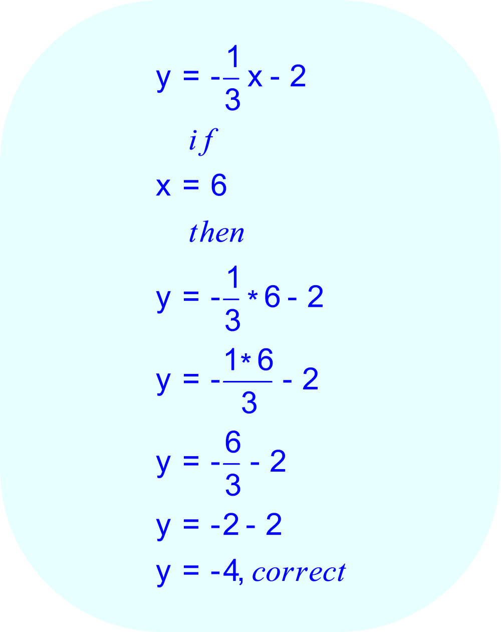 Since the straight line passes through the point (6, -4), when x = 6 the equation should compute -4 for y.
