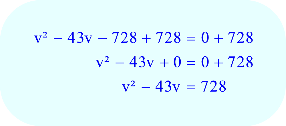 Complete the Square - add the constant (the number 728) to each side of the equation