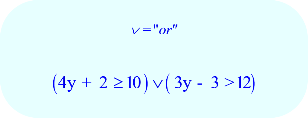 Compound Inequality - 4y + 2 ≥ 10 OR 3y - 3 > 12