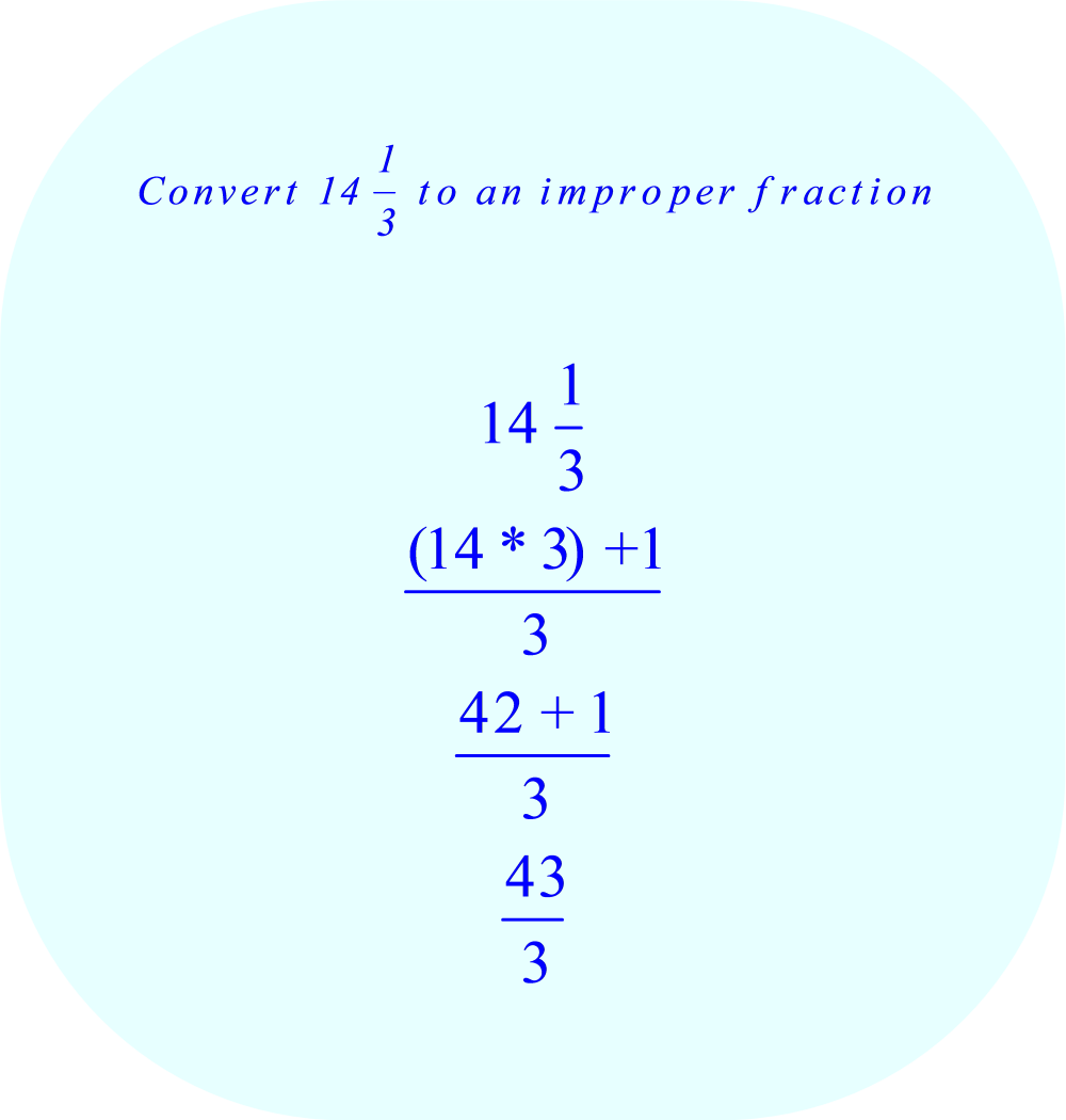 convert 14 1/3 to an improper fraction
