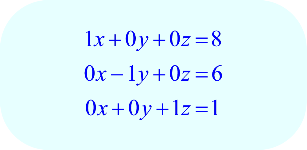 convert final matrix into equation form;  -3x + 6y - 9z = 3, x - y - 2z = 0, 5x + 5y - 7z = 63
