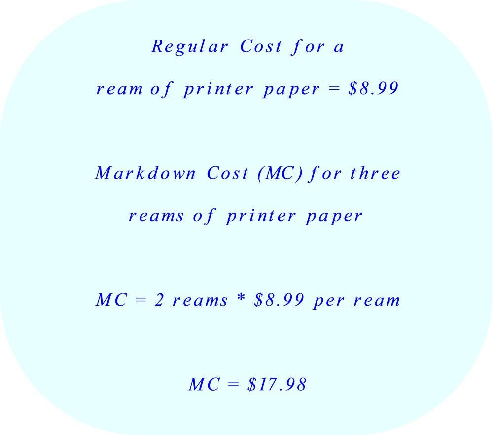 Cost of three reams of printer paper with discount