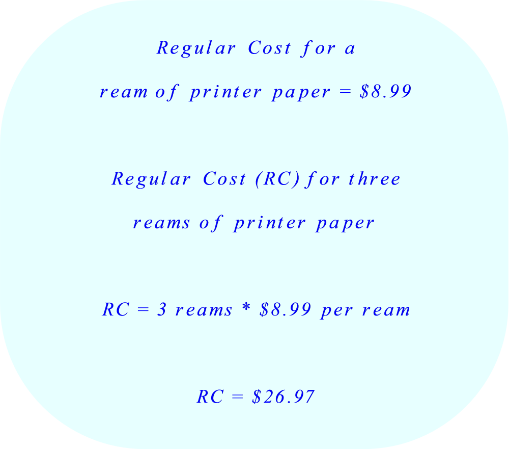 Cost of three reams of printer paper without discount