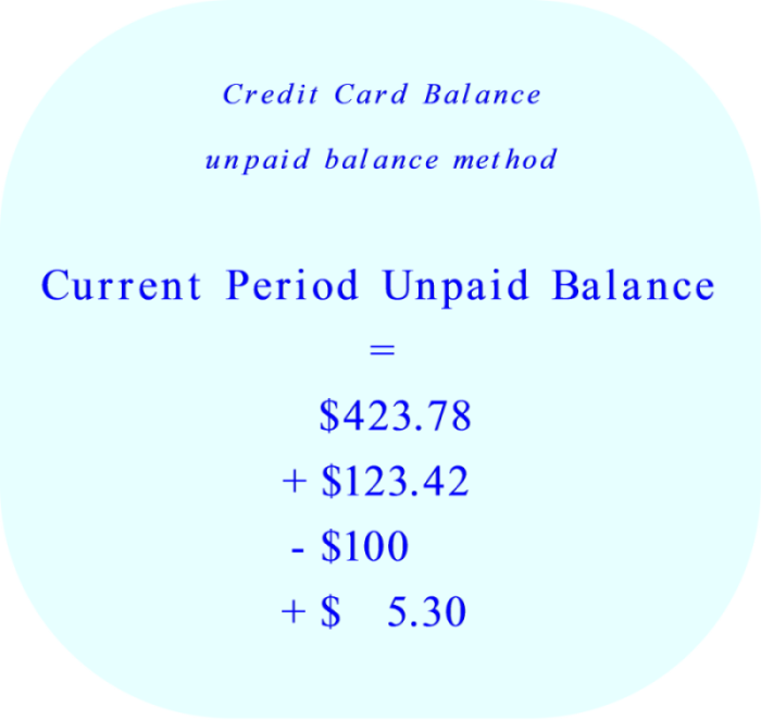 Credit Card - calculation of the current period balance using the unpaid balance method
