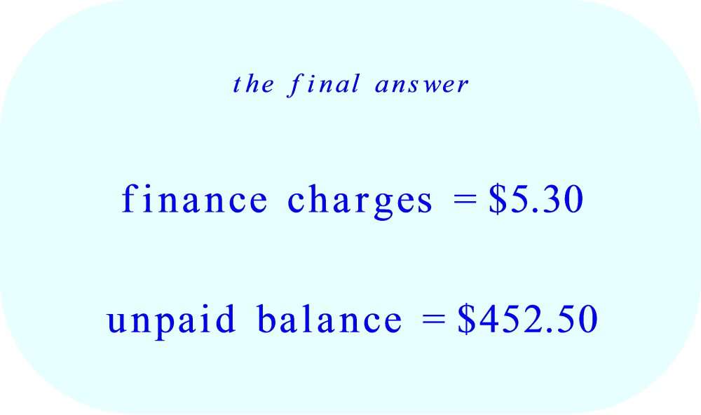 Credit Card - finance charge and unpaid balance