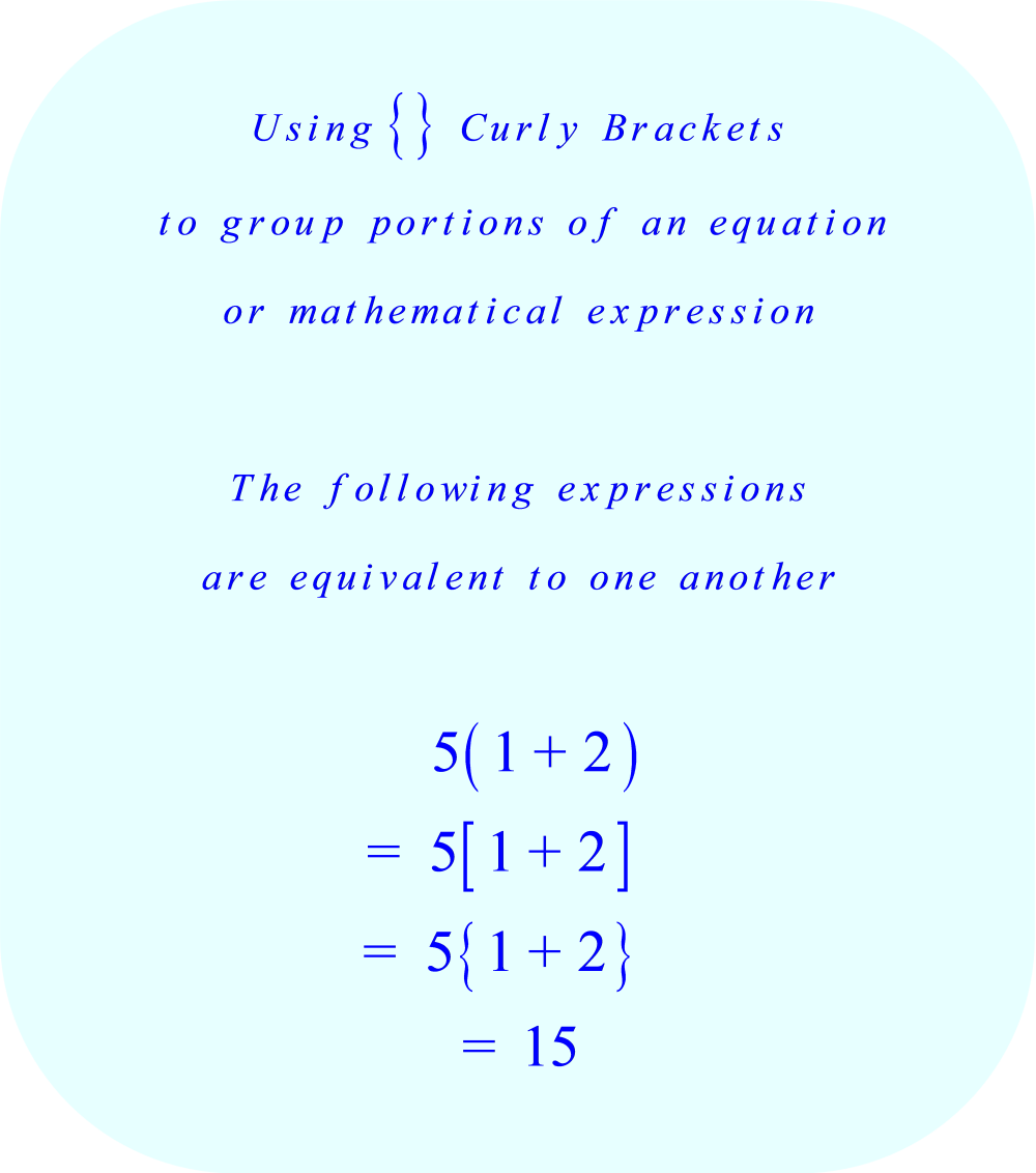 using Curly Brackets to group portions of a mathematical expression