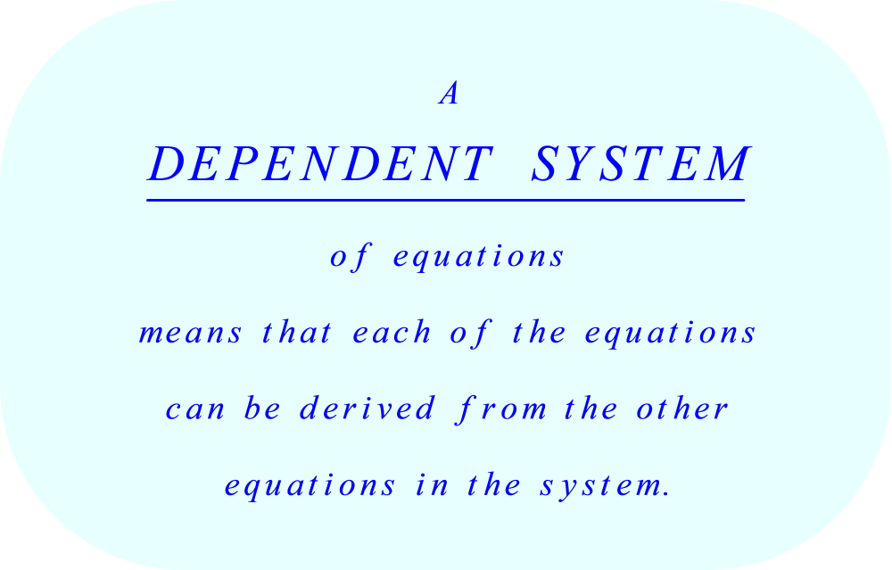 dependent equations:  equations which can be derived from the other dependent equations in the system.