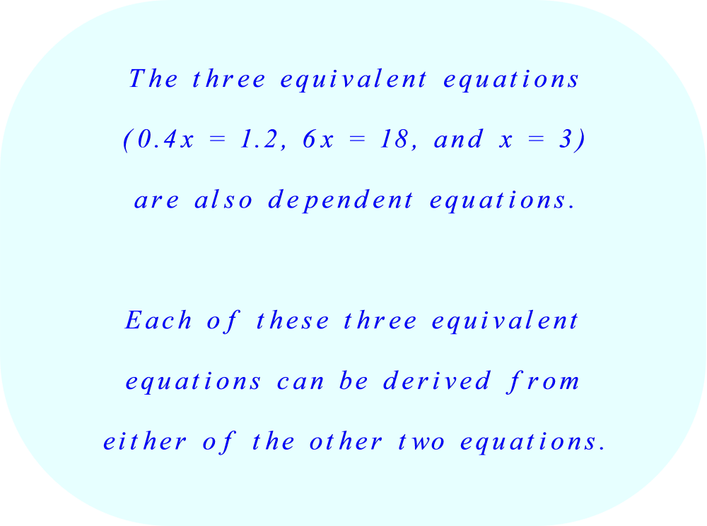 Three equivalent equations which are also dependent equations.