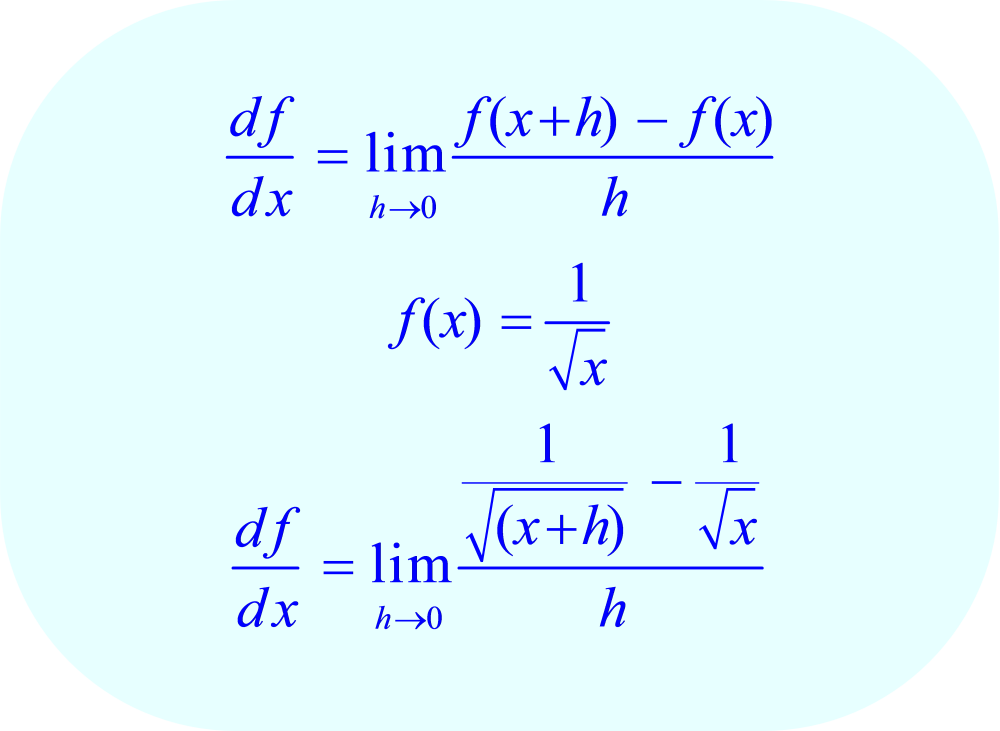 Substituting the function f(x) = 1/√x into the difference quotient limit formula