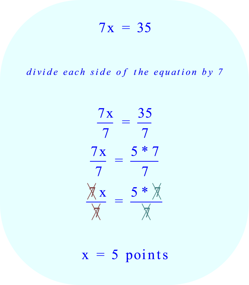 divide each side of the equation by 7