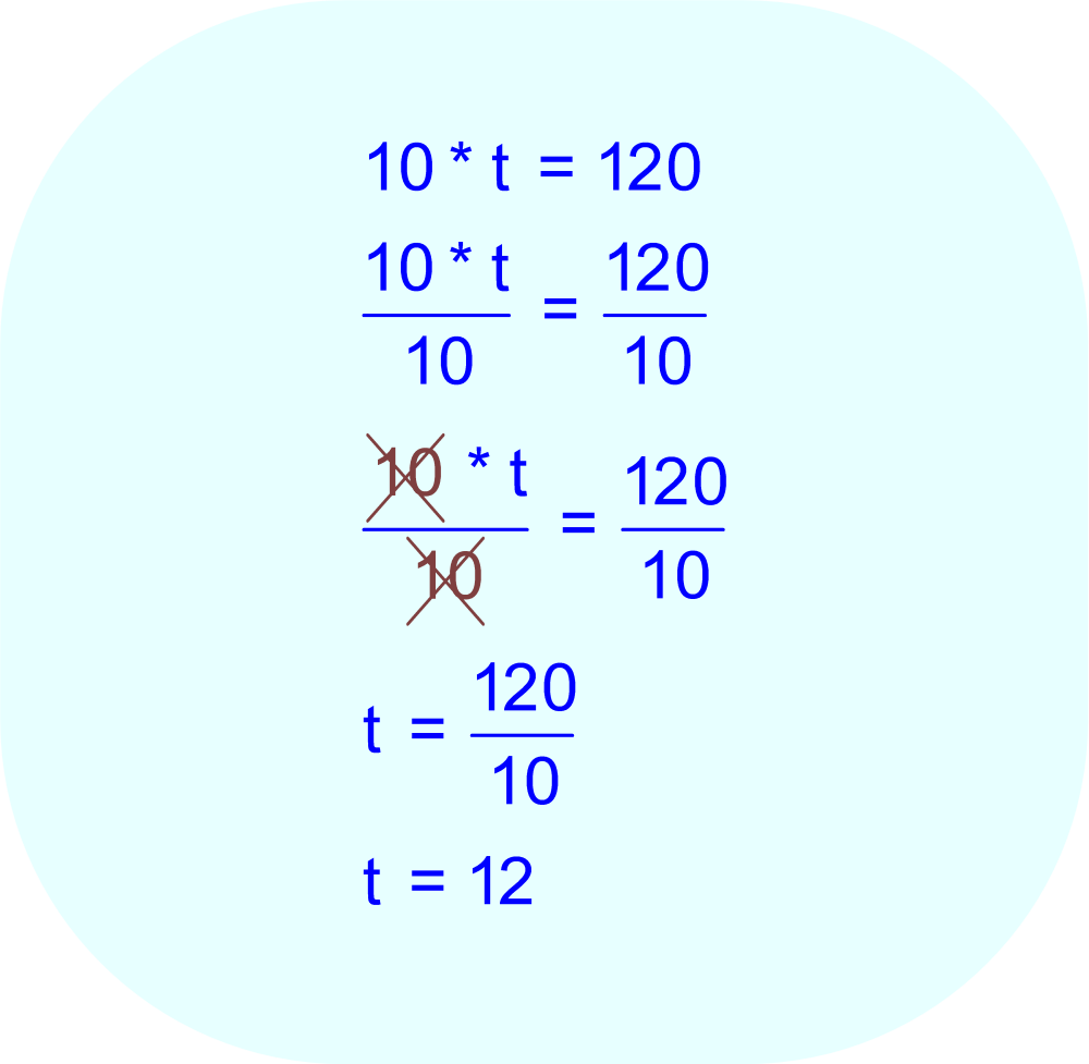 Divide each side of the equation by 10