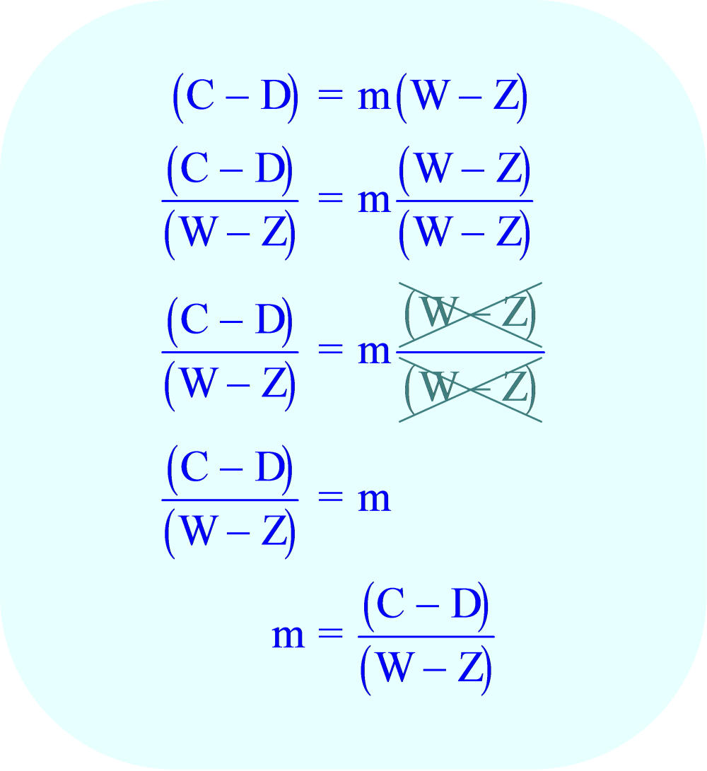 Divide each side of the equation by (W - Z)