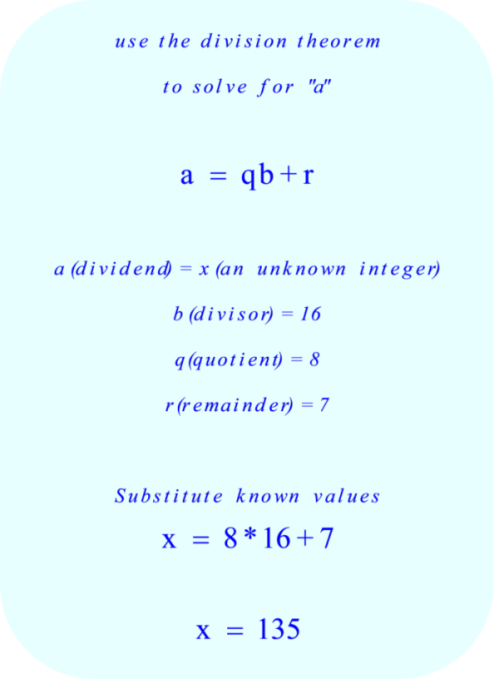 Division Theorem - calculation of dividend