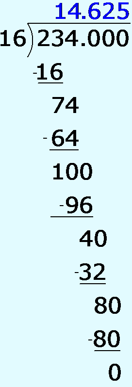 Long Division, showing decimal