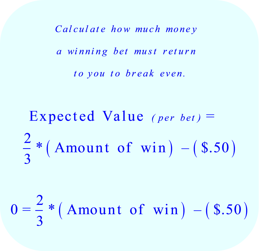 Equation to determine how much money a winning bet must return to you in order to break even