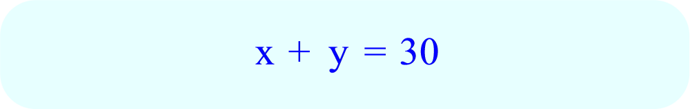 Equation x + y = 30 for total number of students