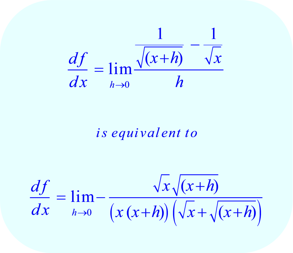The rearranged (equivalent) fraction avoids the possibility of dividing by zero when h = 0.