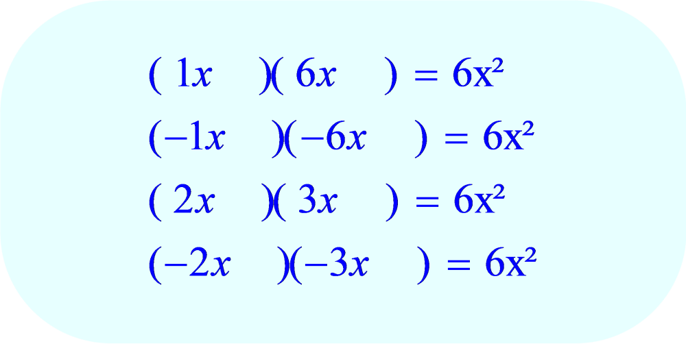 Factoring - all possible coefficients for the variable x