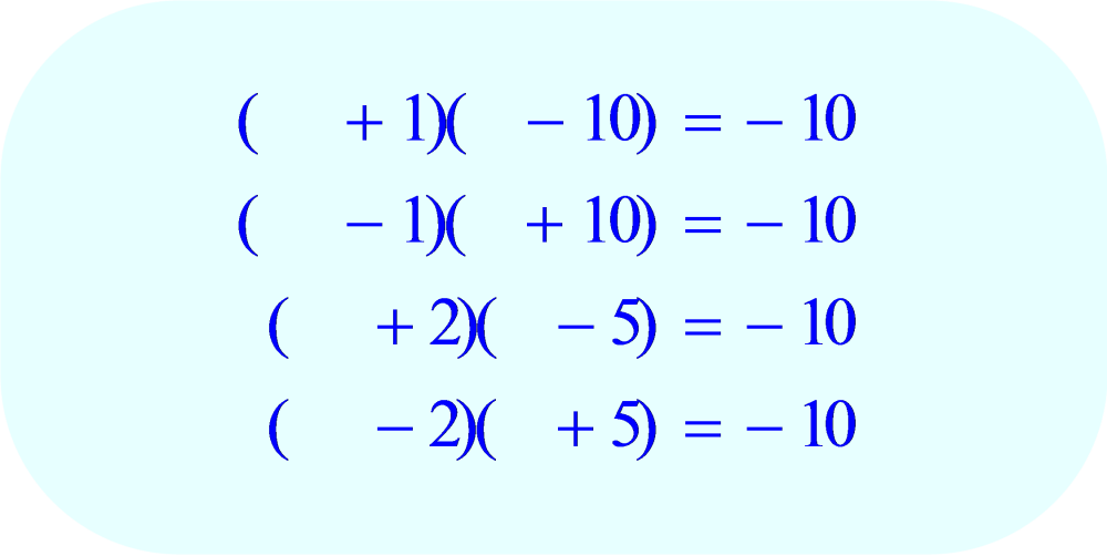 Factoring - all possible combinations for the second term within each parentheses
