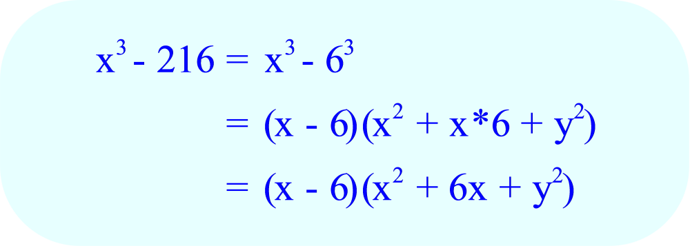 Factoring x³ - 216 using the difference of cubes factoring formula