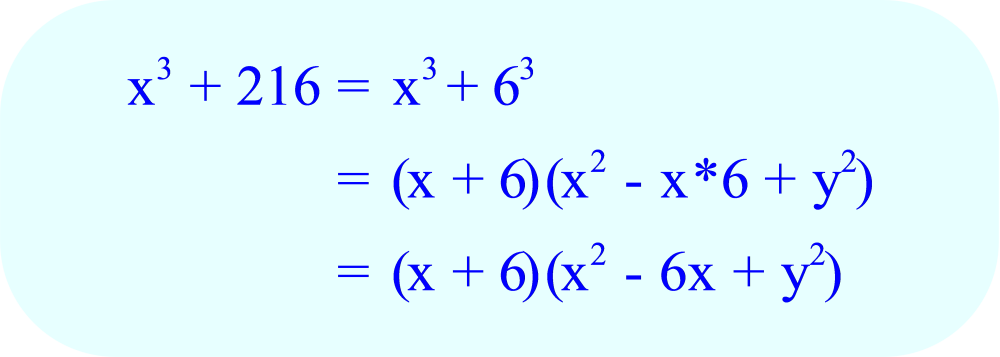 Factoring x³ + 216 using the sum of cubes factoring formula