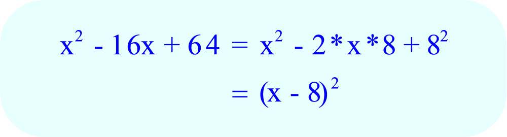 Factoring x² - 16x + 64 using the perfect square trinomial formula