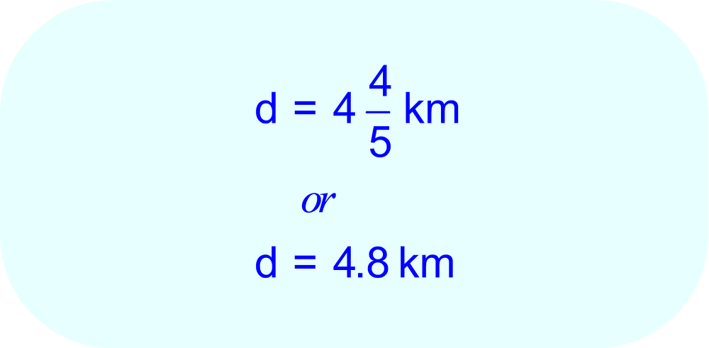 Distance Traveled:  fraction and decimal