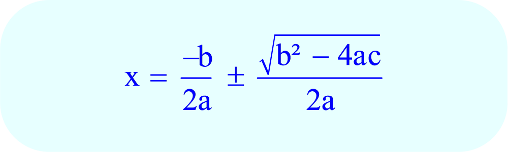 Format of Quadratic Formula